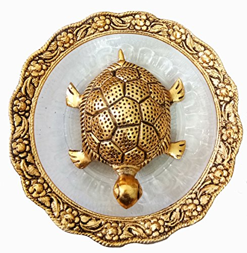 Tortoise Metal - Pinnacle Golden Feng Shui Metal Tortoise with Metal and Glass Plate showpiece, Lucky Charms Good Omens Good Health Save Now