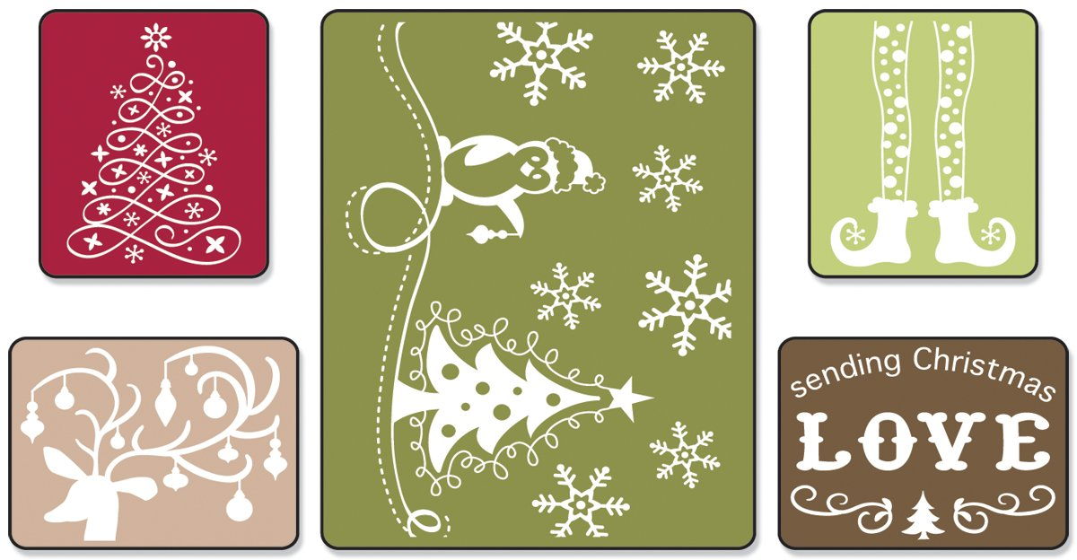 Sizzix 656985 Textured Impressions Embossing Folders 5PK - Sending Christmas Love Set by Rachael Bright Ellison