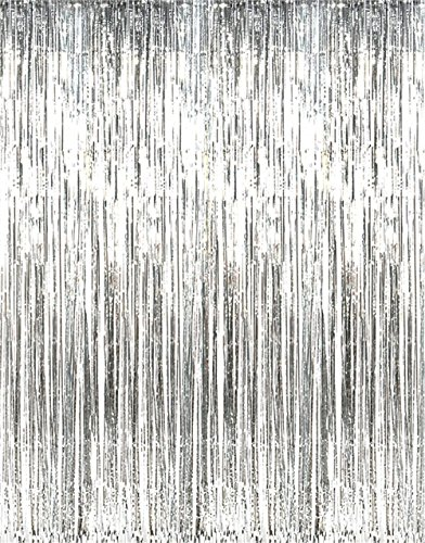 Asunflower 6.5Ft MetallicTinsel Silver Foil Fringe Curtains Backdrop Christmas Hanging Streamers for Party/Prom/Birthday Favors (Door Streamers Curtain)