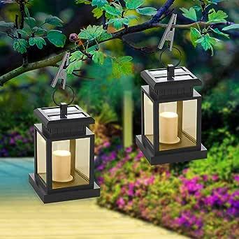 Farol Solar Exterior, Luces Decorativas Lámparas Solares, Linterna Solar LED para Colgar, Impermeable IP44 Automáticamente Encendido con Velas Blanco Cálido Parpadeo Sin Llamas (2 Piezas): Amazon.es: Iluminación