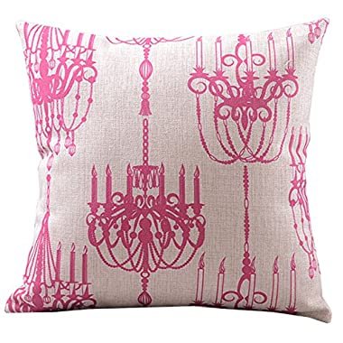Createforlife Cotton Linen Decorative Throw Pillow Case Cushion Cover Retro Tea Light Chandelier Prints Pink Square 18