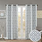 Cheap Room Darkening Curtains for Bedroom – Printed Fretwork Viola Window Curtains Pair – Grey – 42×95 Inch Panel – Foam Back Energy Saving Curtains for Living Room – Grommet Top – Include 2 Panels