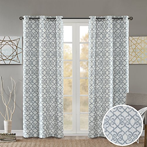 Room Darkening Curtains for Bedroom - Printed Fretwork Viola Window Curtains Pair - Grey - 42x63 Inch Panel - Foam Back Energy Saving Curtains for Living Room - Grommet Top - Include 2 Panels