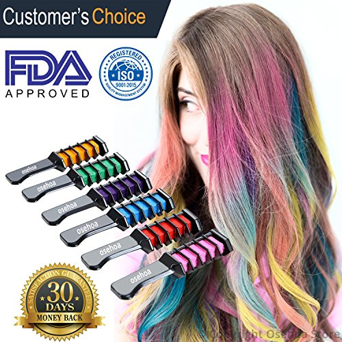 Temporary Hair Chalk Comb Color - Osehoa Hair Chalk for All Hair Colors - Built in Sealant, For Kids Hair Dyeing Party and Cosplay DIY, 6 Colors - Free Ebook Included - The Best Hair Chalk Set