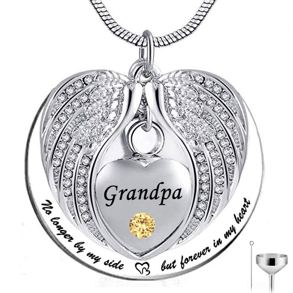 HQ No Longer by My Side but Forever in My Heart Stainless Steel Memorial Cremation Urn Pendants Necklace for Ashes Grandpa