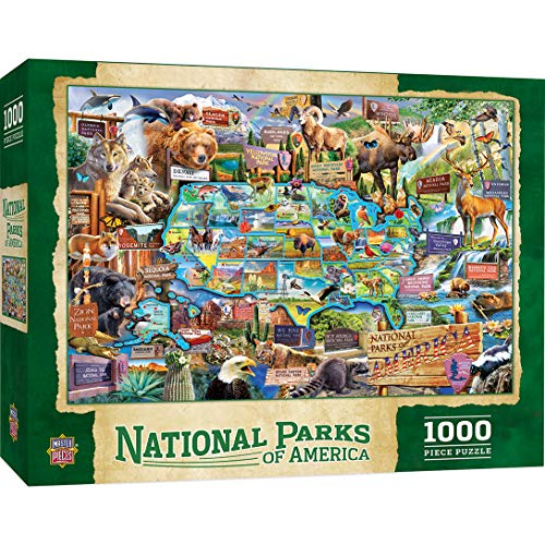 MasterPieces National Parks of Amercia, Jigsaw Puzzle, Maps, 1000 Pieces (Yellowstone National Park On Map Of Usa)