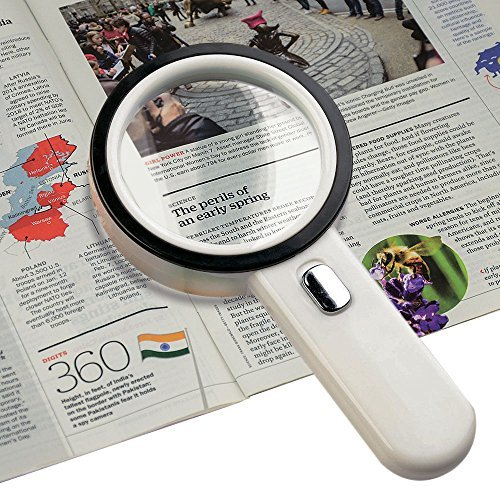 (Number-One 10X LED Lighted Magnifier, Handheld Magnifying Glass Illuminated Lens with 12 Lights, 80mm Large Viewing)