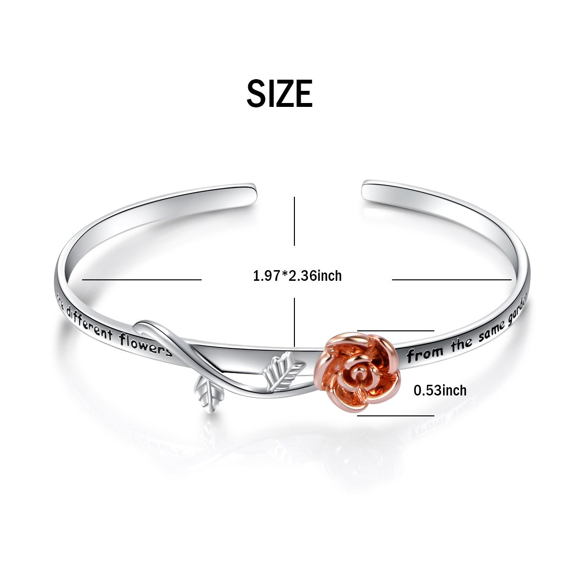 cf0969f9269 Amazon.com  S925 Sterling Silver Sisters Are Flowers From The Same Garden  Cuff Bangle Adjustable Bracelet  Jewelry