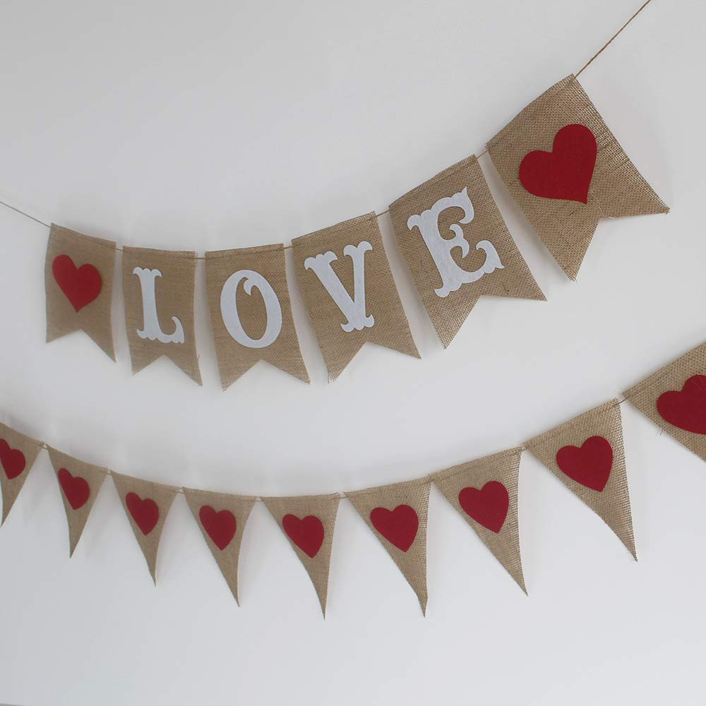 Red XOXO and Hearts Felt Garland Valentines Day Decorations Valentine Decorations ZMGM Valentines Day Red Heart Hanging String Garland