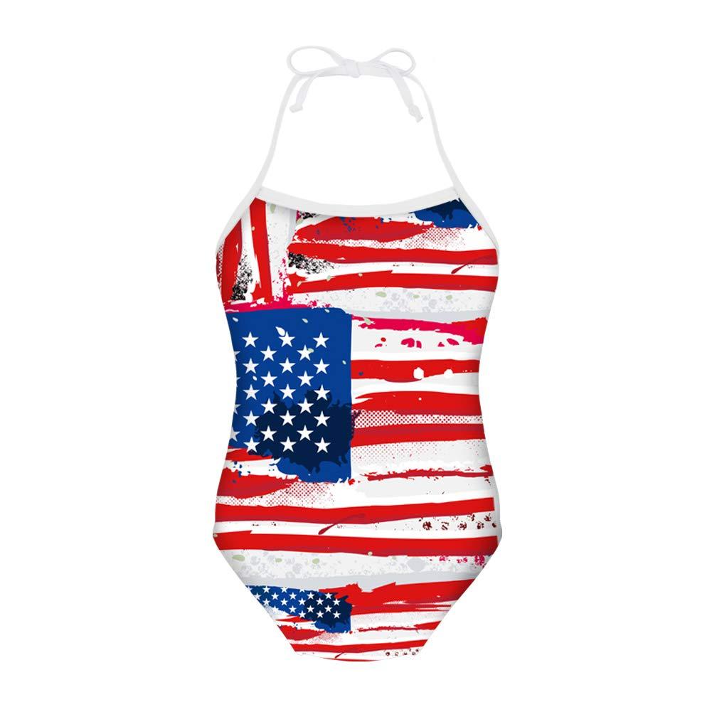 FUIBENG American Flag Print Cute Girl One Piece Swimsuit Halter Bathing Suit