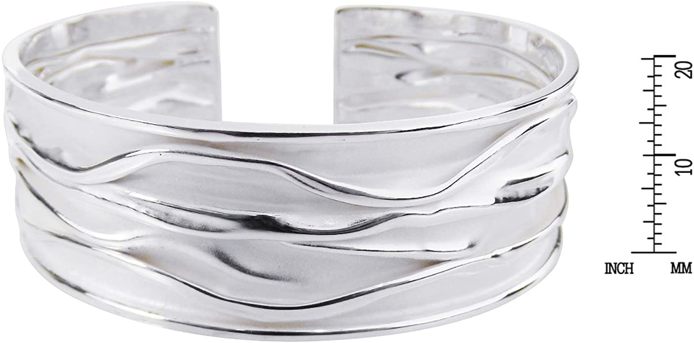 Ocean Waves Woven Bracelet with Silver Clasp