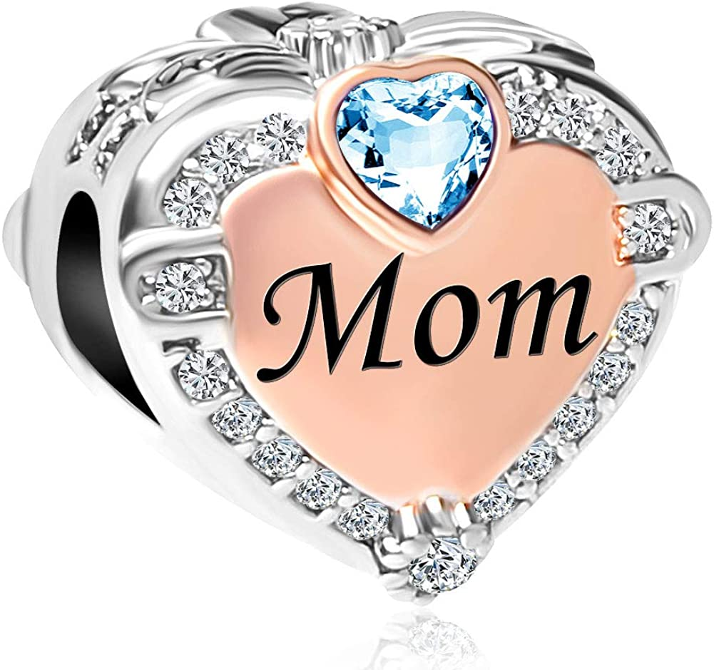 Mel Crouch Heart Love Simulated Birthstone Mom Charms for Mothers Day