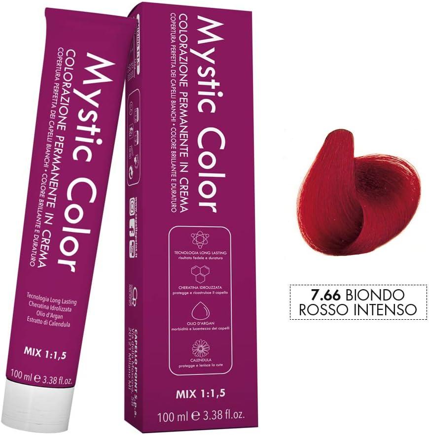 Mystic Color - Coloración Permanente en Crema con Aceite de Argán y Caléndula - Color Natural y Duradero - Tono 7.66 Rubio Rojo Intenso - 100 ml