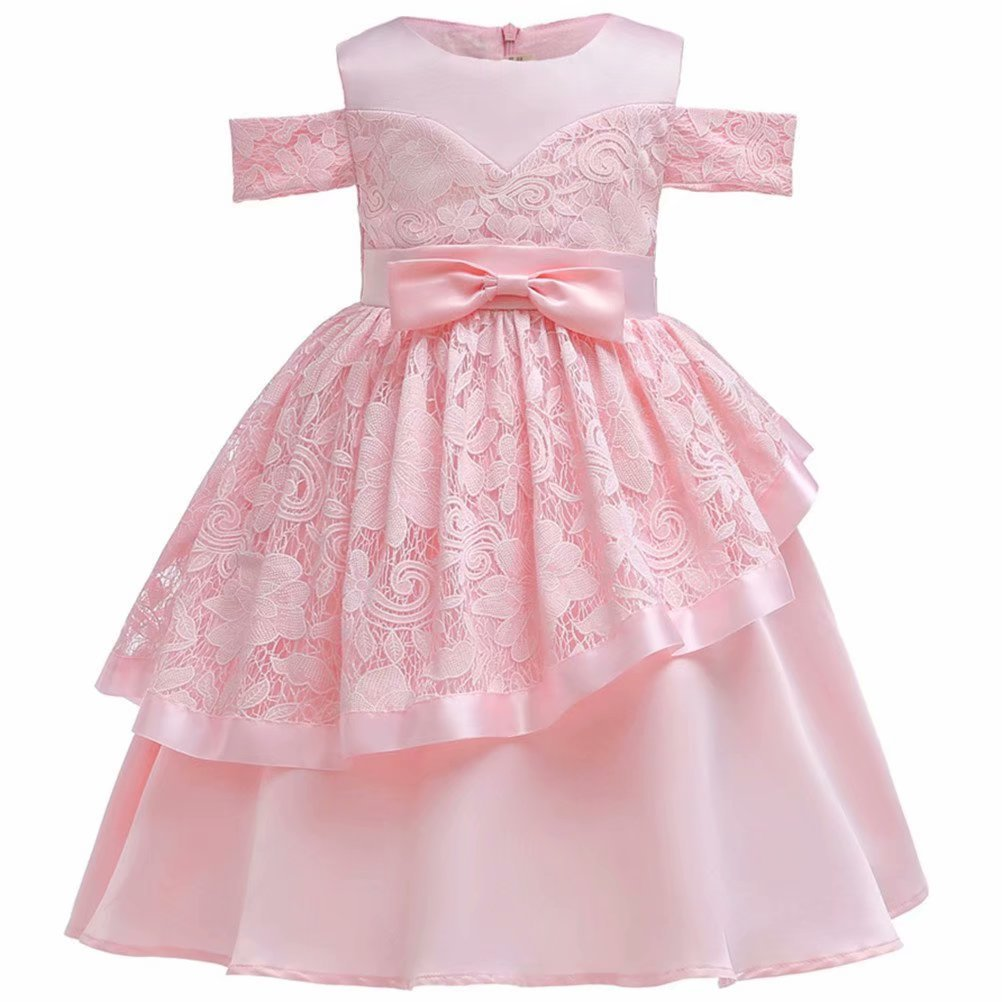 Girls Off The Shoulder Floral Party Dresses Lace Costumes Pink for 3-8Years