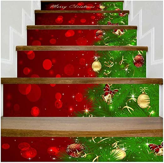 SERFGTFH Feliz Navidad Simulación 3D Pegatinas Escalera Muro Impermeable Pegatinas DIY Home Home Decor: Amazon.es: Hogar