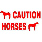 Solar Graphics USA Caution Horses Trailer Decal Sticker Safety Kit - American Quarter Horse On Each End Reflective Red 4.5x50