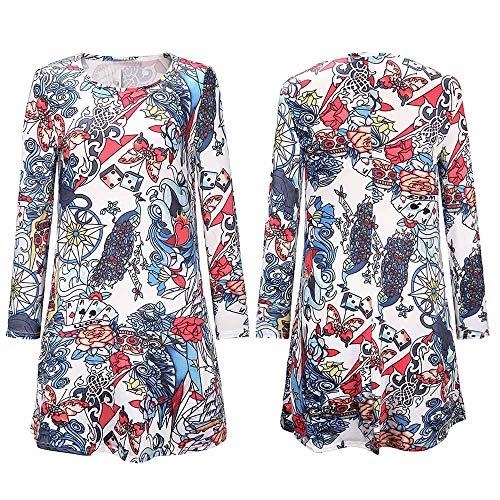 VIASA_ Women's Long Sleeve Halloween Print Dress Shift Dress Mini Dresses Tunic Tank Tops Blouses(White)]()