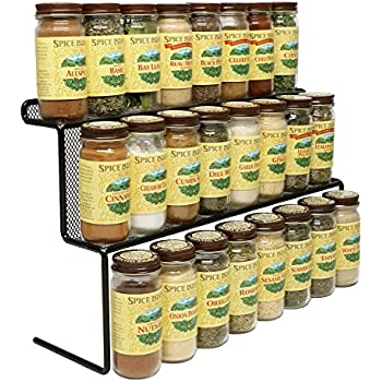 KitchenEdge 2 Tier Elevated Spice Rack Storage Organizer, Holds 16 Spice  Jars And Bottles, Width 15 Inches