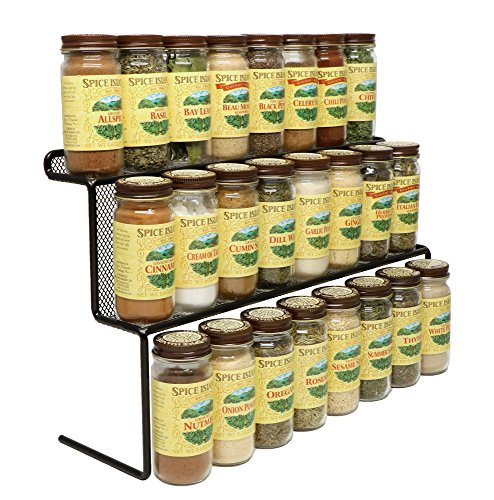 Mesh Spice Rack - KitchenEdge 2-Tier Elevated Spice Rack Storage Organizer, Holds 16 Spice Jars and Bottles, Width 15 Inches