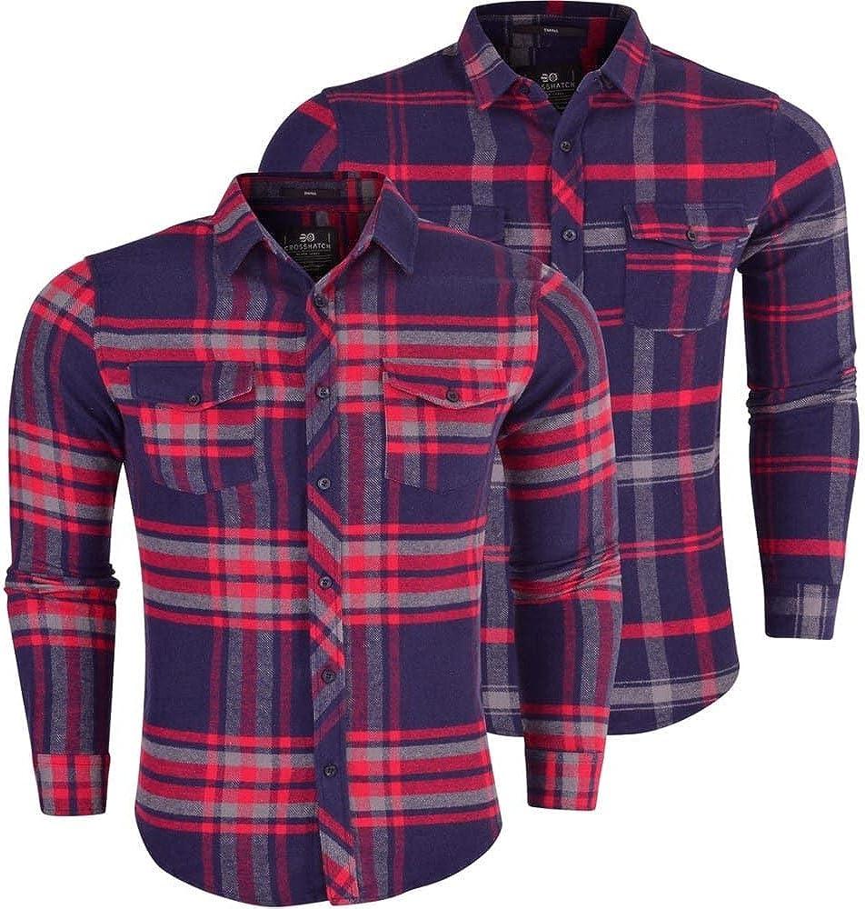 Crosshatch Hombre Manga Larga Cuadros Camisa de Leñador de Algodón Franela Algodón Grueso Camisa: Amazon.es: Ropa y accesorios