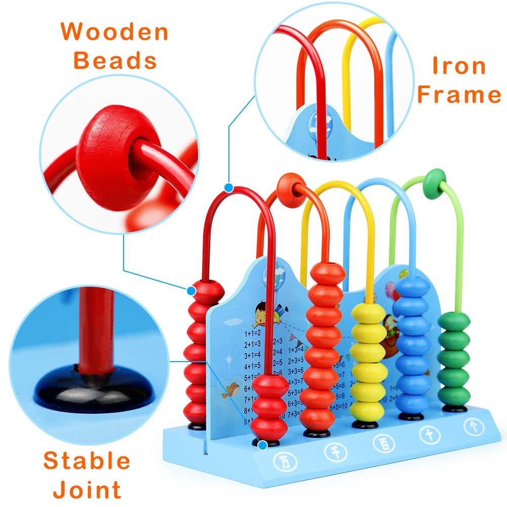 Boulier Montessori Abaque Calcul Bébé Jouet Bois Jeux Mathematiques Enfant Abacus Additionner et Soustraire Apprendre à Compter Jouets Amusants pour les Garçons et les Filles 2 3 Ans