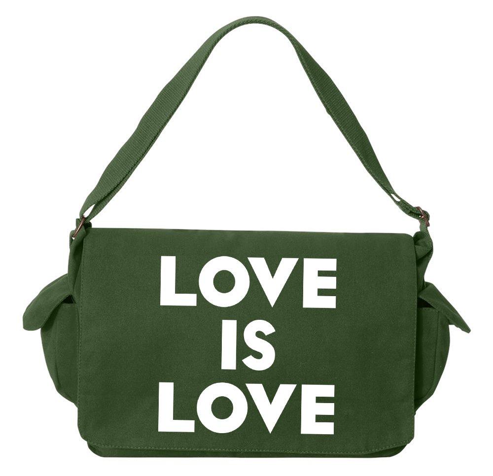 Tenacitee Love is Love Green Brushed Canvas Messenger Bag