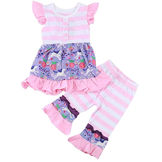 bf5aa0c88a07ed Baby Toddler Girl Stripe Floral Ruffle Shirt Dress Tops + Leggings Pant  Outfit Set Pink