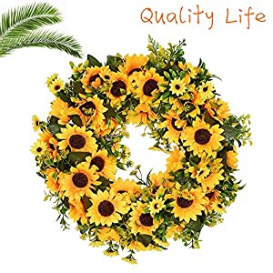 Lovely Spring & Summer Artificial Sunflowers Flowers Greenery Wreath,16 Inch Quality SunFlower for Front Door Wall Hanging Decorative 108