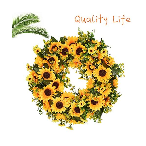Lovely-Spring-Summer-Artificial-Sunflowers-Flowers-Greenery-Wreath16-Inch-Quality-SunFlower-for-Front-Door-Wall-Hanging-Decorative