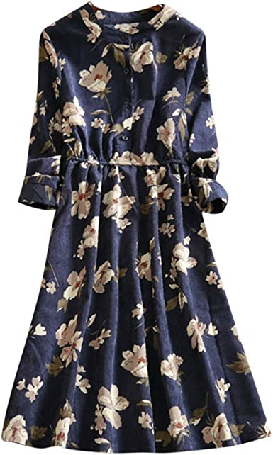Vestido Midi Floral Print Casual Otoño para Noche Fiesta Playa ...