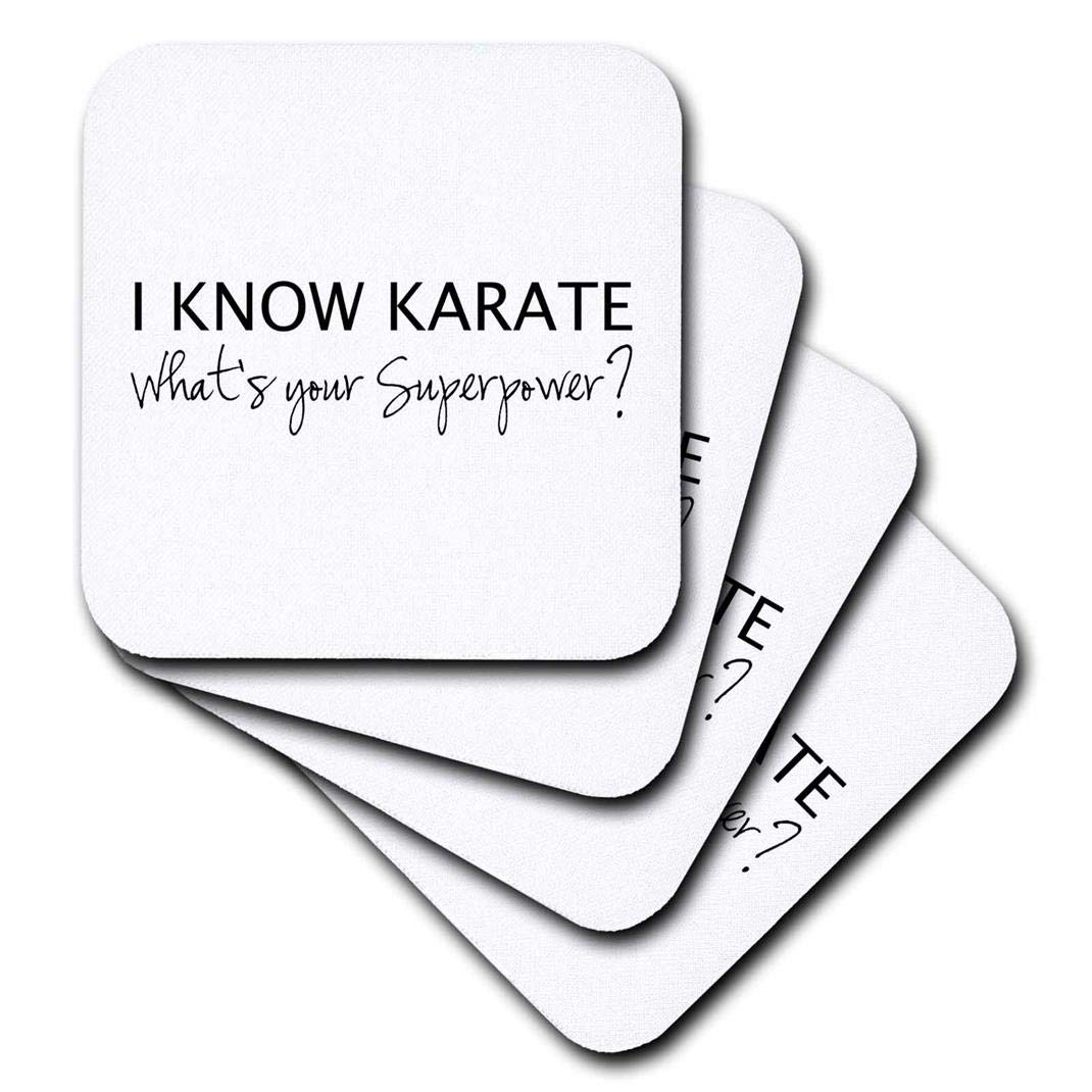 Set of 8 3dRose CST/_194464/_2 I Know Karate Whats Your Superpower for Karate Fan Karateka Soft Coasters