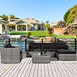 Cloud Mountain No Tax 6-Piece Outdoor Patio Summer Rattan Wicker Sectional Conversation Sofa Set Wicker Furniture Set w/Table 5 Sofa Chairs, Mix Gray Rattan Black Cushion For Sale