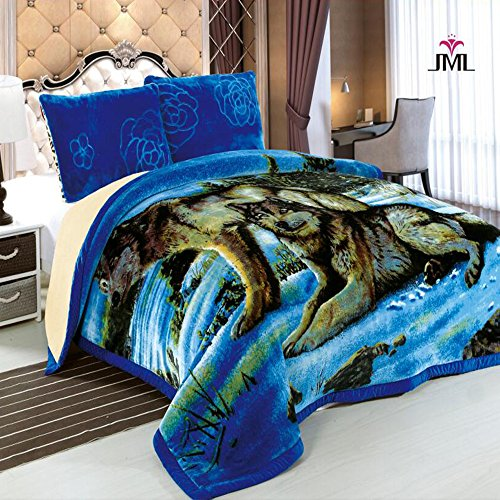 JML Heavy Soft Plush 3PCs Velvet Silky Touch Borrego Blanket, Korean Style Mink Animal Printed 3 Ply Sherpa Blanket, King Size 85