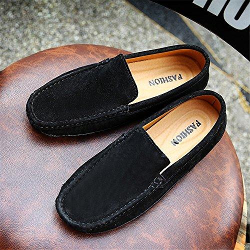 Nhatycir on Penny Slip de Negro Negocios de Hecho de Sutura de Mocasines a Genuino Mano Barco Mocasines Conducción Planos los Trabajo Gamuza Hombres Moda Zapatos Zapatos Zapatos Cuero Mocasines de XxXqrTF