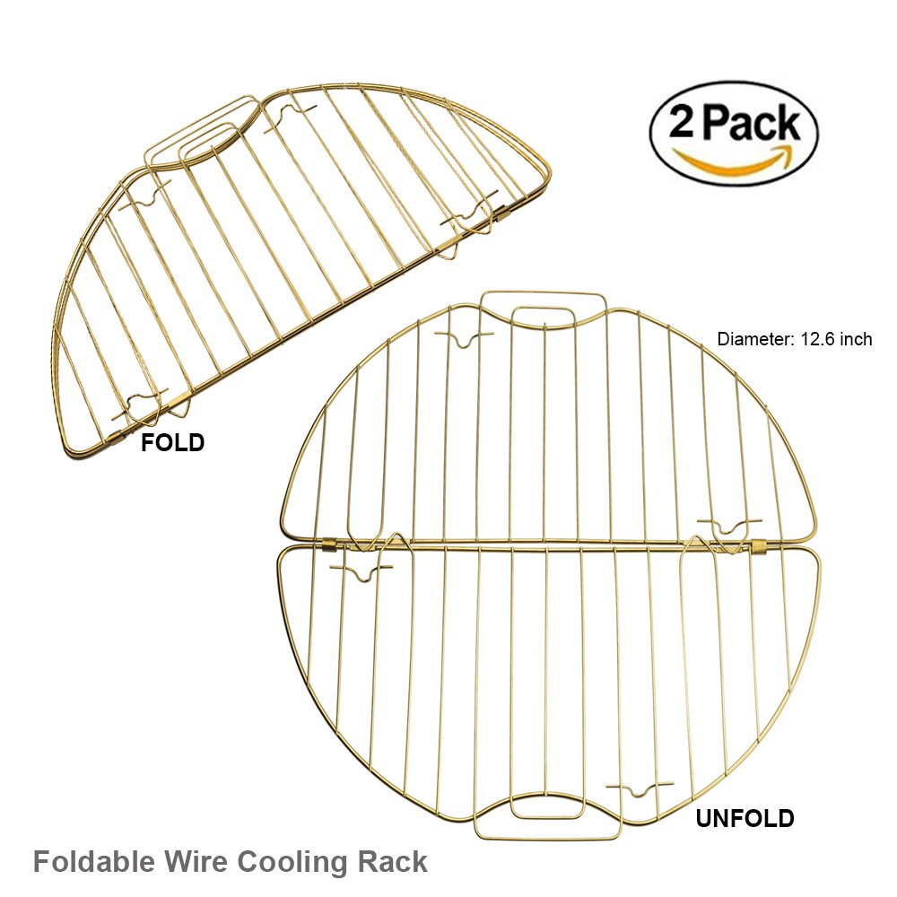 Do4U Round Fodable 430 Stainless Steel + Gold-plated Cooling Rack, Baking Rack with Legs, Heat Resisting 392 ℉, Dishwasher Washable, Export Quality German Supermarket(2 Pack - Golden)