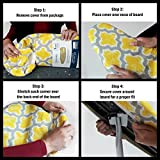"""HOMZ 1945066 Replacement Cover and Pad for Standard Width Ironing Board, 13-15"""" W x 53-55"""" L, Yellow Pattern"""