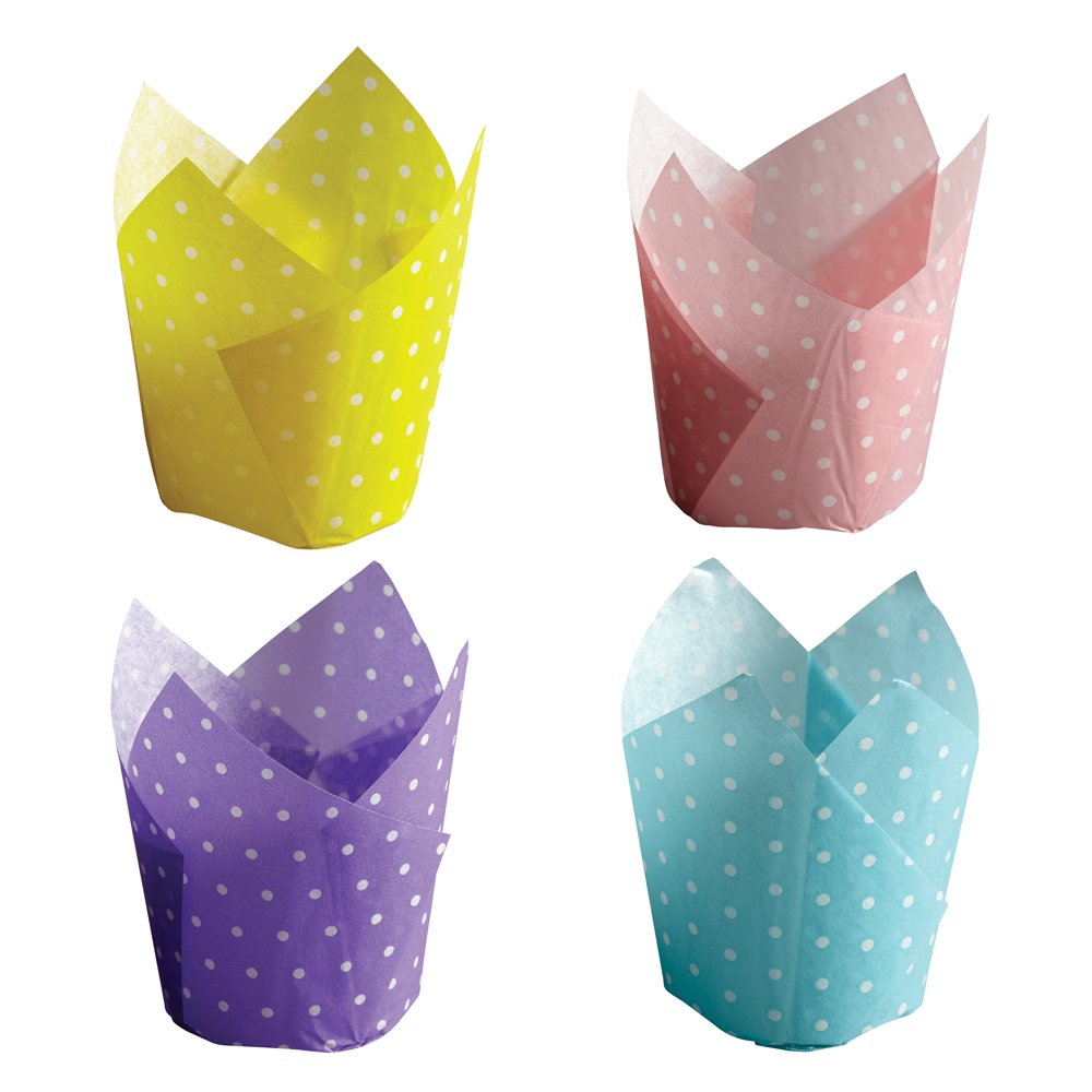 Hoffmaster 611124 Dotted Tulip Cup Cupcake Wrapper, 4-Color Assortment, 4-5-Ounce Capacity, 2-1/4'' Diameter x 4'' Height, Large (4 Packs of 125) by Hoffmaster (Image #1)