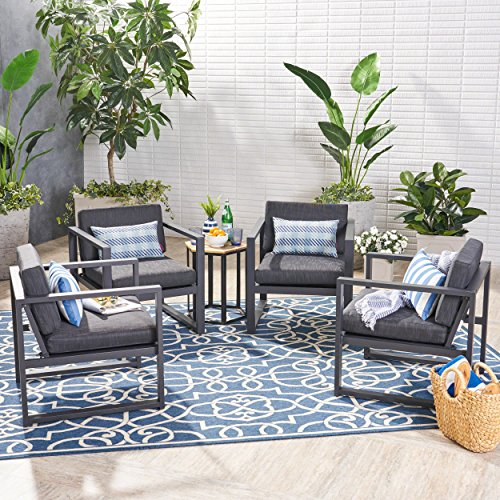 Great Deal Furniture Wally Outdoor Aluminum Club Chairs (Set of 4), Dark Gray and Black