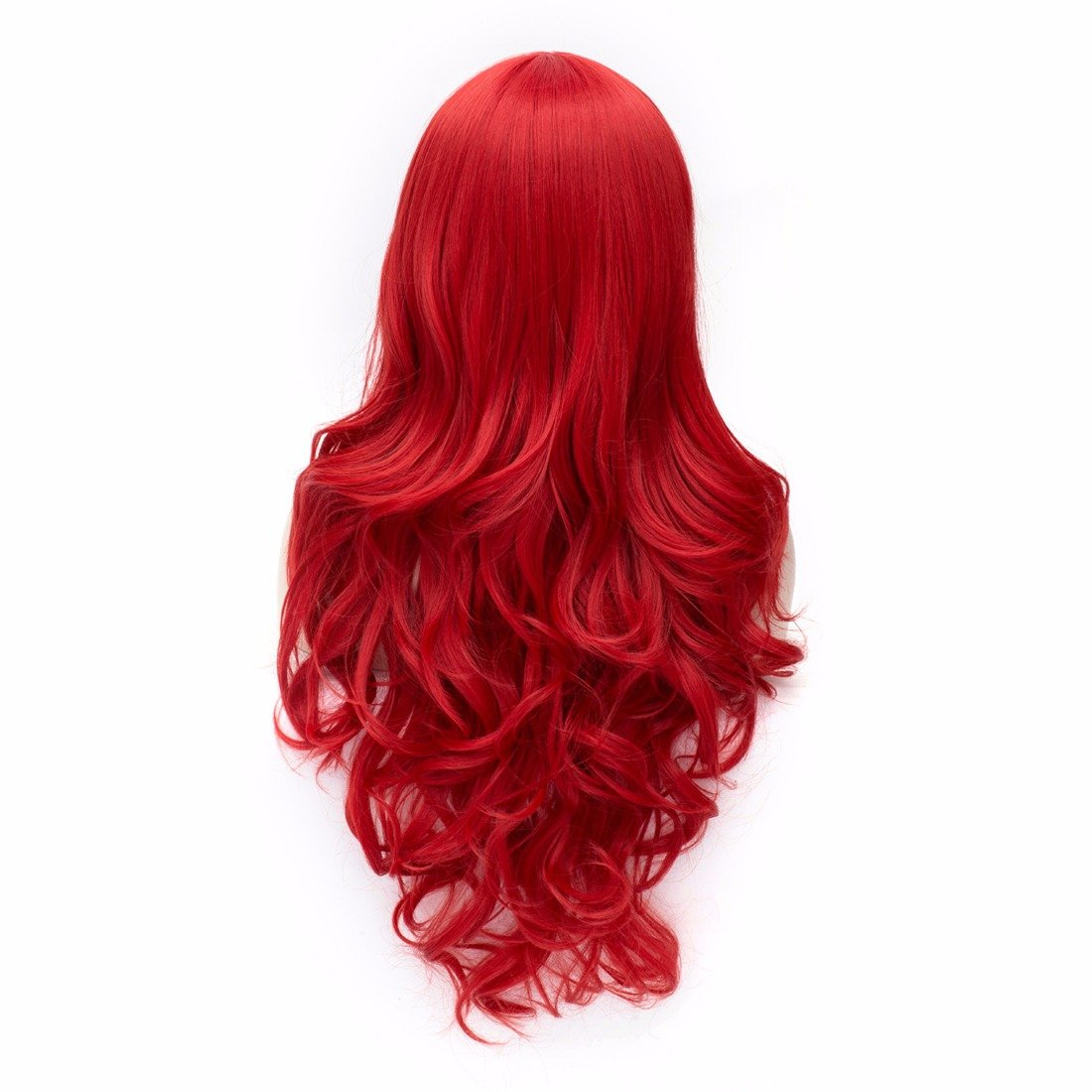 Amazon.com : Red Womens Rame Bangs Anime Long Curly Wavy Fluffy Full Wig Party Cosplay Wigs : Beauty
