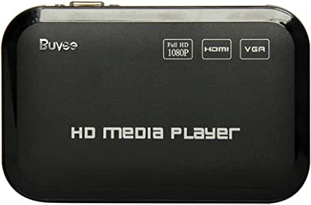 Portable Media Player, Buyee Full 1080P HD Multi Media Player 3 outputs HDMI, VGA, AV, 2 inputs SD Card & USB Reader for HDDs or Pen Drives, Digital Auto-Play & Loop-Play
