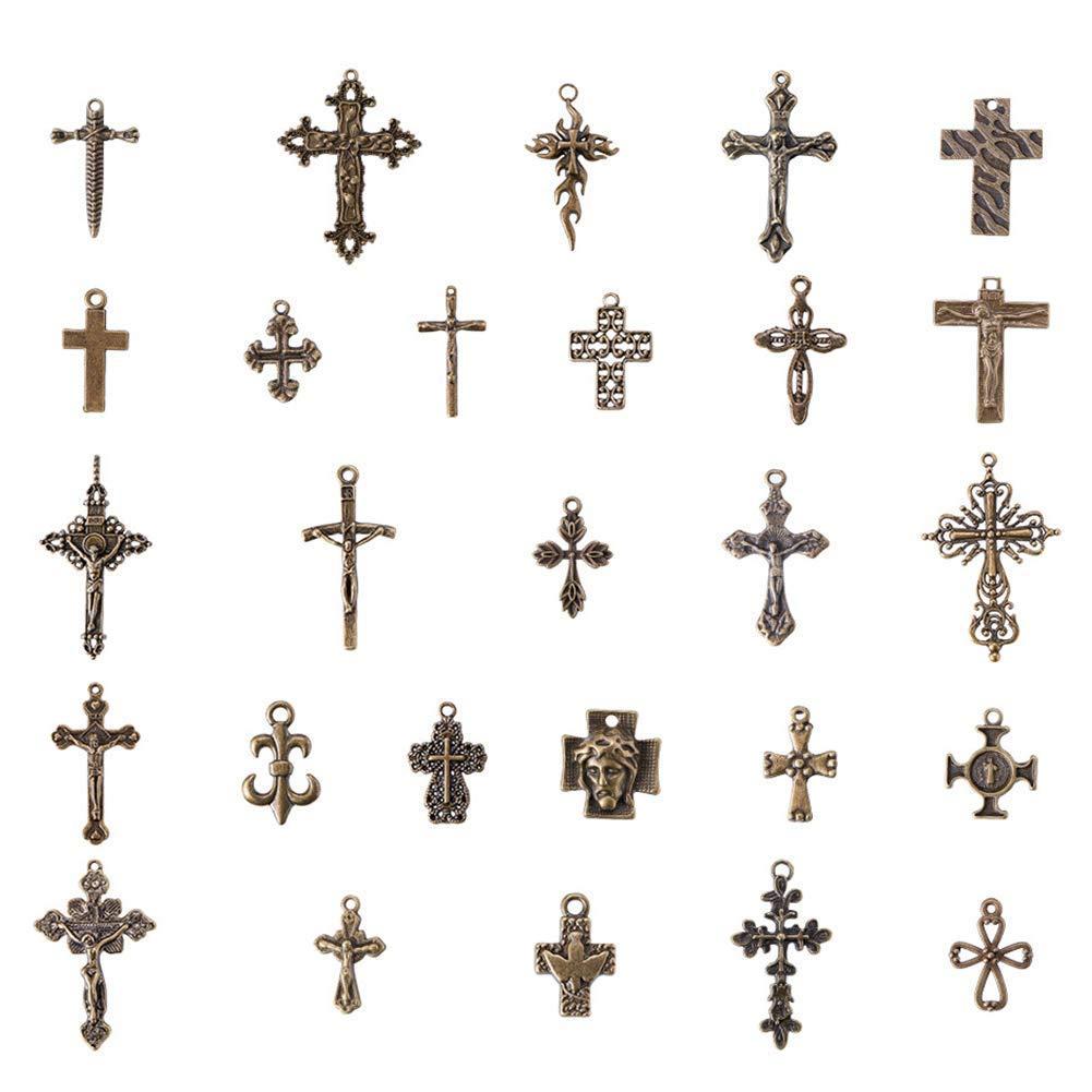 d991f88c100b PH PandaHall - Colgantes de cruz de bronce envejecido