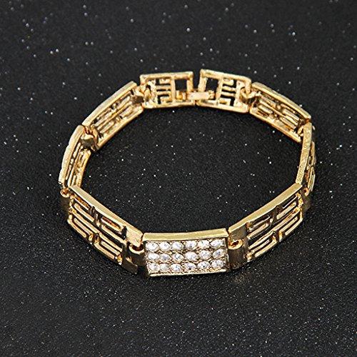 Parure Ensemble de Bijoux Collier Boucles d'Oreilles Bracelet Bague Couleur d'Or