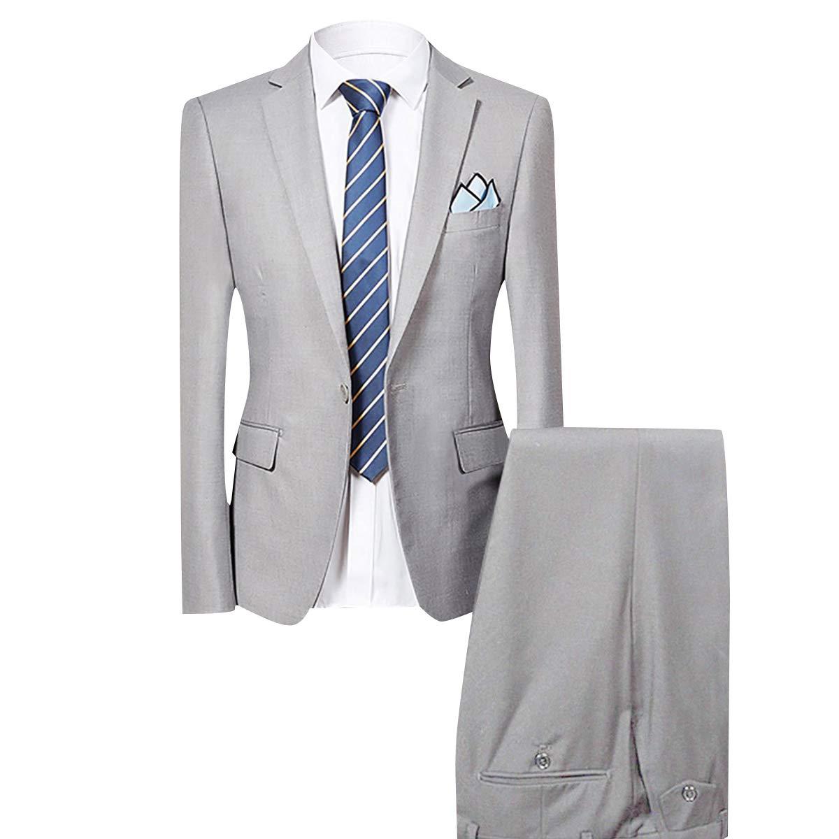 Allthemen Uomo Intelligente 2 Tuta Slim Fit Cena Wedding Tuxedo Abiti Monopetto One Button Blazer Giacca e Pantaloni