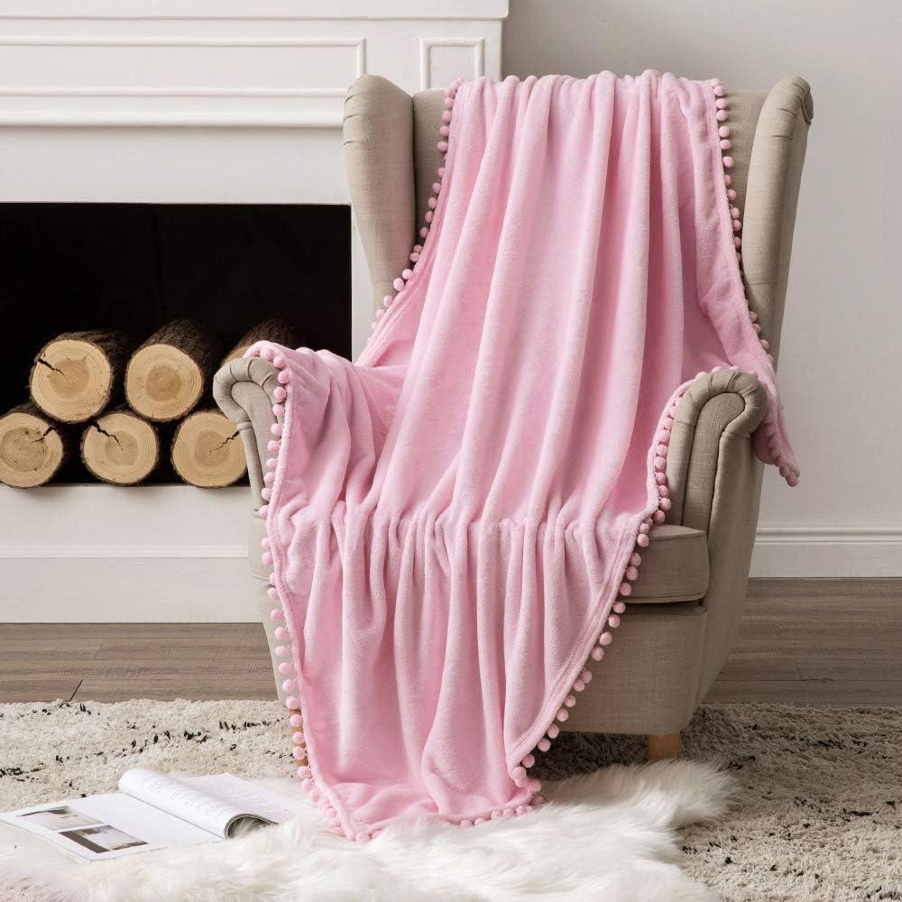 MIULEE Bedding Manta para Sófas de Franela Manta para Cama Sofa Longue Sensación de Terciopelo Grande Súper Suave Soft Largo Blanket Ligera y Cálida Felpa Manta 153x203cm 60x80inch Rosa