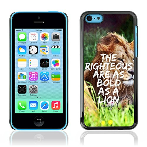 DREAMCASE Citation de Bible Coque de Protection Image Rigide Etui solide Housse T¨¦l¨¦phone Case Pour APPLE IPHONE 5C - PROVERB 28:1 - THE RIGHTEOUS ARE AS BOLD AS A LION