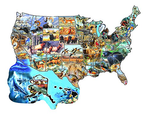 Wild America 600 pc Shaped Jigsaw Puzzle -American Wildlife theme- by SunsOut
