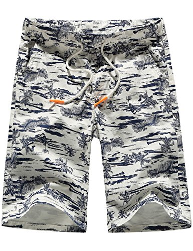 SSLR Men's Flat Front Hawaiian Casual Drawstring Board Shorts (34, White) by SSLR