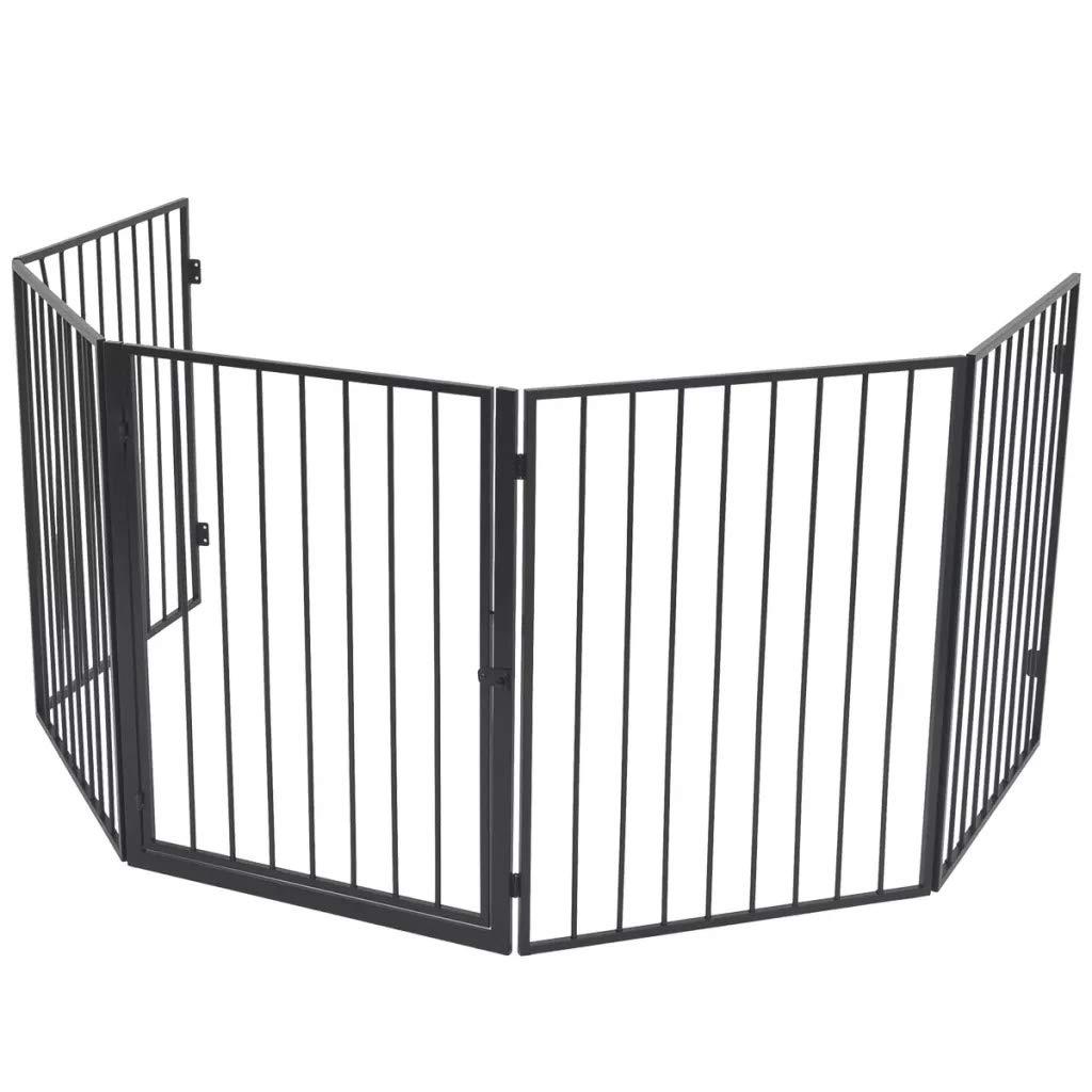 Divisor de habitaci/ón Barrera de Seguridad de 5 Paneles Puerta de Auto Seguridad de Metal Chimenea 123 x 123 x 76 cm para Mascotas Valla a Prueba de Vallas para Mascotas