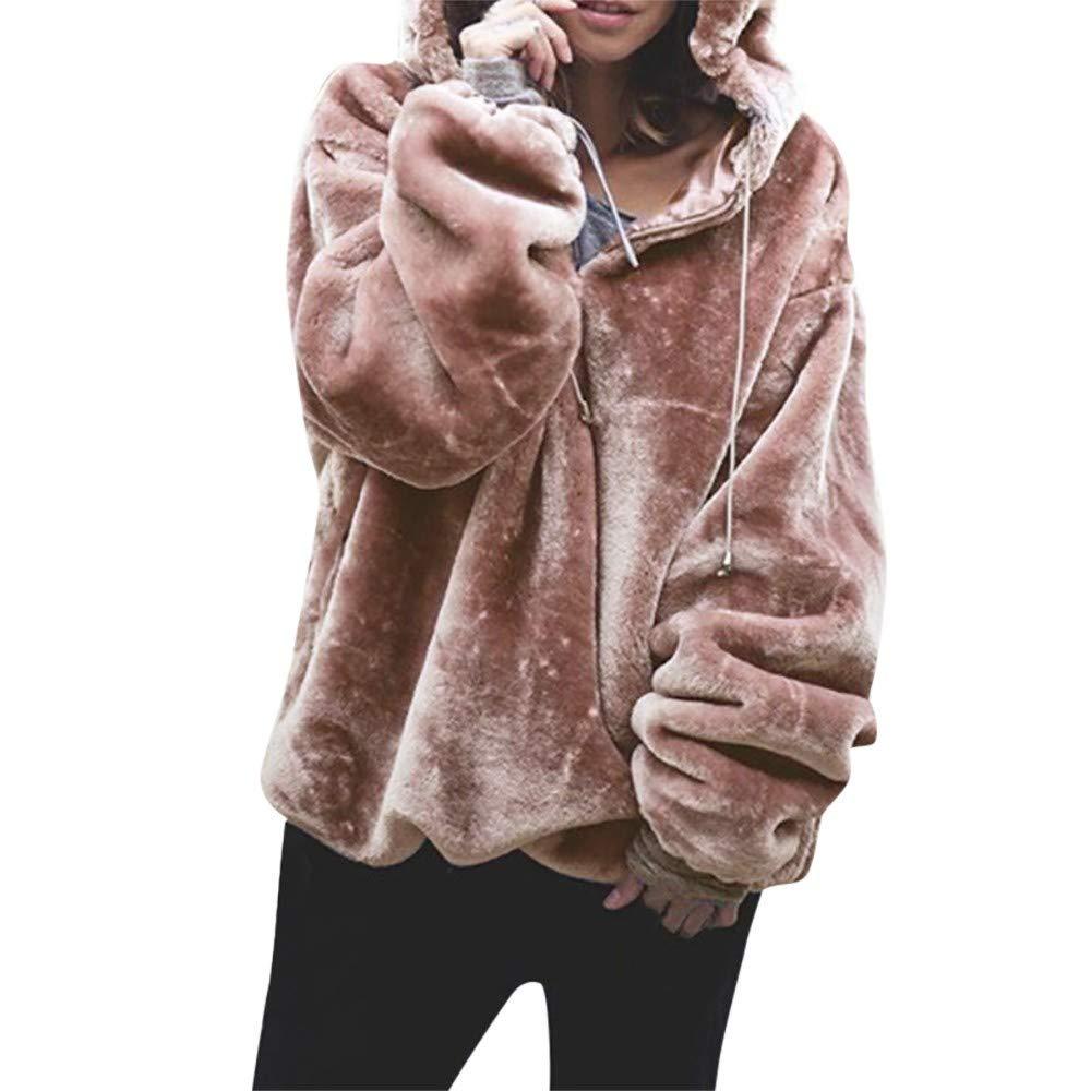 Milamy Women Pullover Sweatshirt Casual Long Sleeve Drawstring Hooded Outwear Ladies Pure Faux Fleece Coat Pink by Milamy