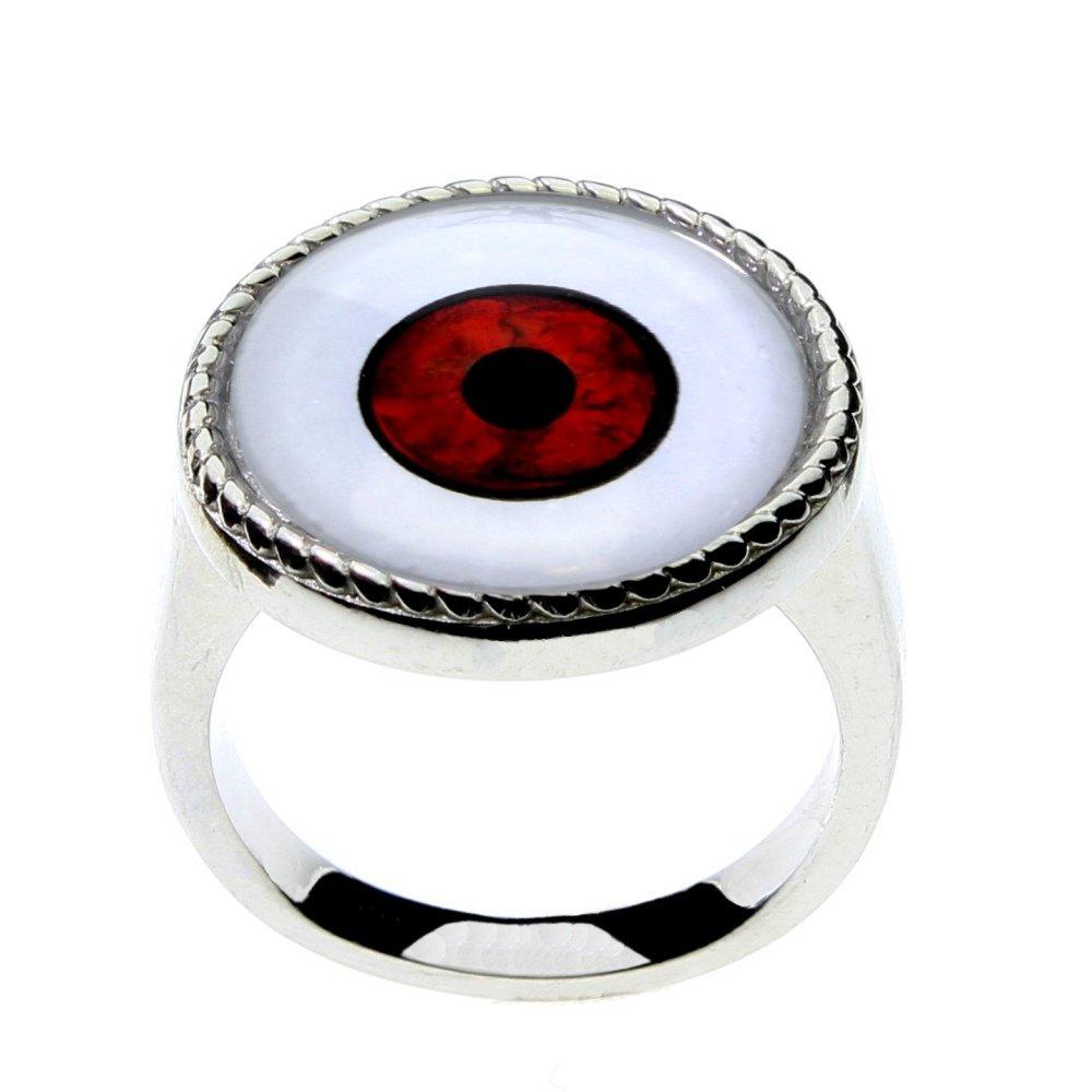 Men or Women's Red Vampire Glass Eye Statement Ring by Steel Dragon Custom Jewelry(Vampire, 10)